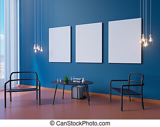 интерьер, украшение, широкий, 3d, макет, синий, обои, современное, иллюстратор