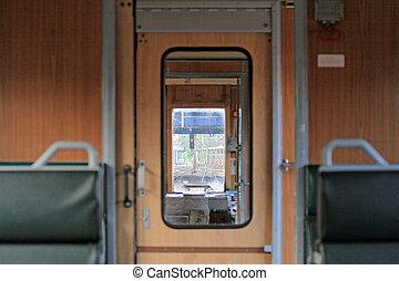 интерьер, of, поезд