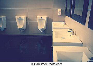 интерьер, of, человек, общественности, туалет, (, отфильтрованный, образ, обработанный, марочный, effect., )