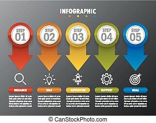 информация, графический, бизнес, современное, шаг, 5