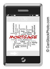 ипотека, слово, облако, концепция, на, сенсорный экран, телефон
