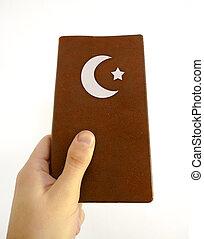 исламский, книга, держа, рука