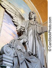 исторический, надгробная плита, with, ангел, держа, , библия
