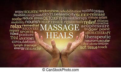 исцеление, массаж, words, связанный, полномочия