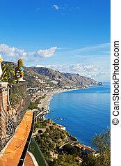 италия, taormina, сицилия, береговая линия