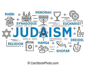 иудейство, религия, symbols, тонкий, линия, icons