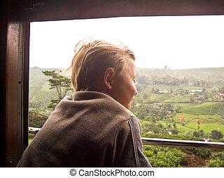 ищу, мальчик, окно, поезд, вне