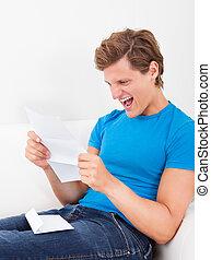 ищу, счастливый, бумага, человек