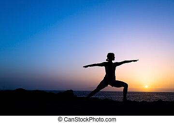 йога, обучение, женщина, силуэт, поза