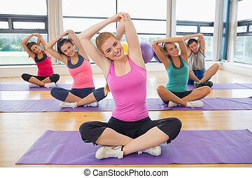 йога, портрет, руки, растягивание, инструктор, фитнес, класс