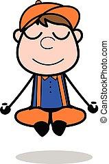 йога, -, работник, столяр, вектор, illustration?, ретро, мультфильм