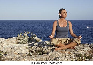 йога, упражнение, на, камень