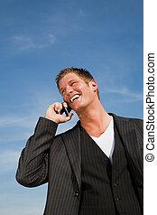 кавказец, бизнесмен, на, , телефон