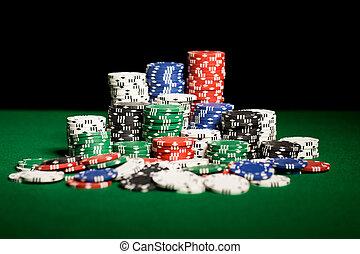 казино, вверх, поверхность, зеленый, закрыть, таблица, чипсы