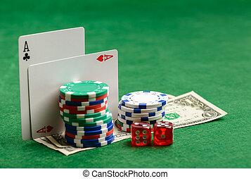 казино, зеленый, таблица, with, играть, cards, чипсы, деньги, and, dices