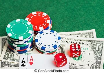казино, зеленый, таблица, with, чипсы, деньги, and, dices