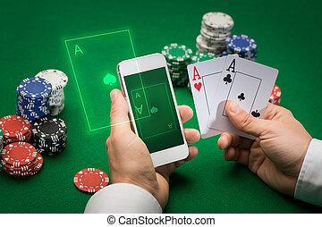казино, игрок, with, cards, смартфон, and, чипсы