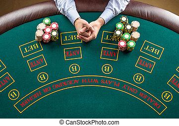 казино, крупным планом, покер, таблица, игрок, зеленый, чипсы