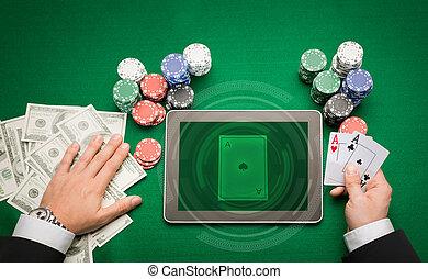 казино, покер, игрок, with, cards, таблетка, and, чипсы