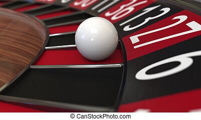 казино, рулетка, колесо, мяч, hits, 27, twenty-seven, red., 3d, оказание