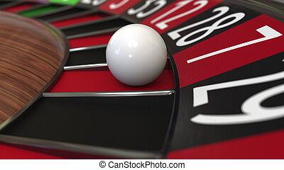 казино, рулетка, колесо, мяч, hits, 7, семь, red., 3d, оказание