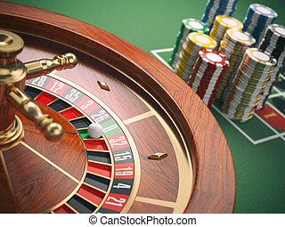 казино, рулетка, колесо, with, казино, чипсы, на, зеленый, table., игорный, background.