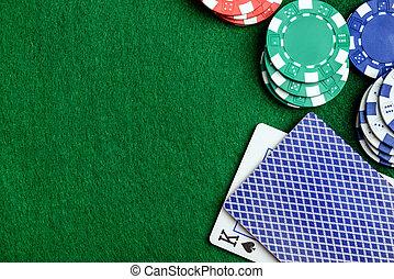 казино, таблица, and, покер, чипсы