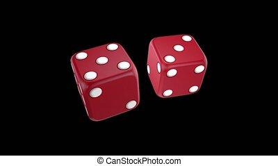 казино, черный, игральная кость, задний план, красный