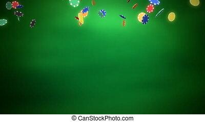 казино, чипсы, сбрасывание, зеленый