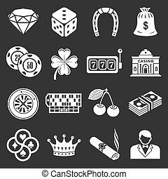 казино, icons, задавать, серый