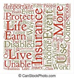 какие, является, disability, страхование, слово, облако, концепция, текст, задний план
