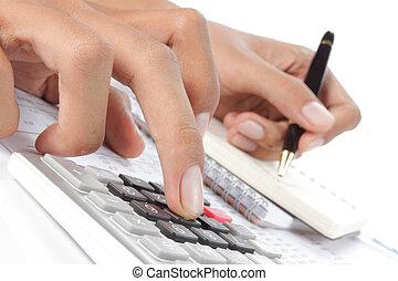 калькулятор, woman's, ручка, руки