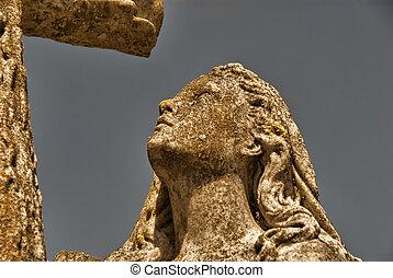 камень, женщина, with, пересекать