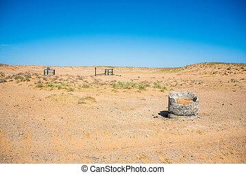 камень, semi-desert, старый, углубления, воды, посмотреть