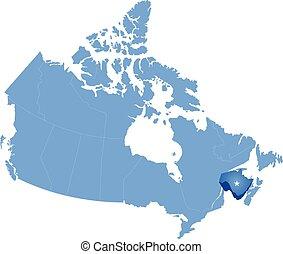 канада, карта, провинция, -, новый, brunswick