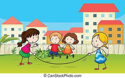 канат, kids, playing