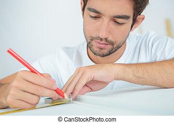 карандаш, маркировка, объект, человек, с помощью