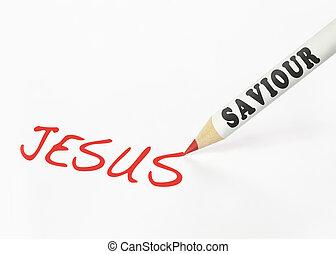 карандаш, слово, иисус, saviour, маркированный, письмо
