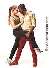 карибский, пара, молодой, dances, студия, выстрел, сальса