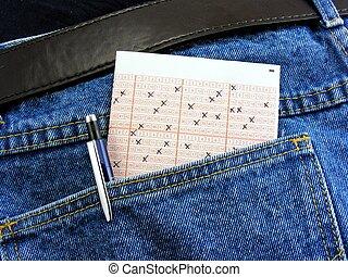 карман, билет, лотерея, назад