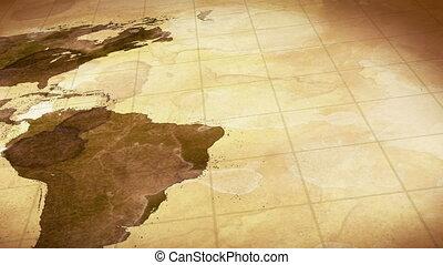 карта, запятнанный, гранж, мир