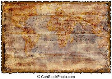 карта, сожженный, старый