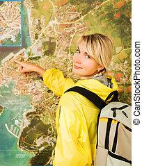 карта, турист, счастливый