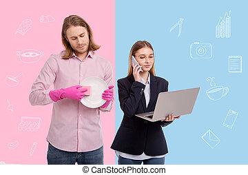 картина, ее, за работой, жена, феминистка, в то время как, домашние дела, муж