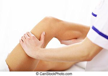 картина, женщина, терапия, having, нога