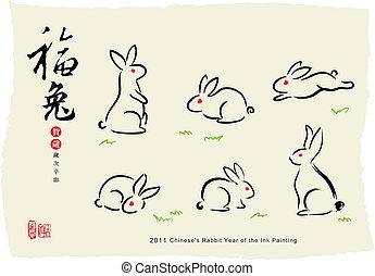 картина, кролик, чернила