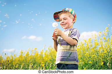 картина, ребенок, playing, красочный, одуванчик
