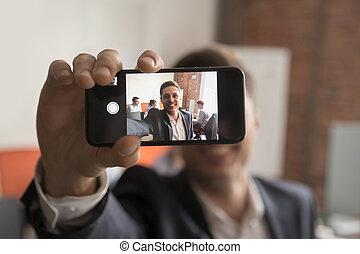 картина, self-portrait, офис, делать, бизнесмен, улыбается