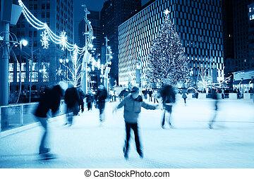 катание на коньках, рождество, лед
