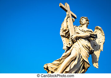 католик, ангел, with, пересекать